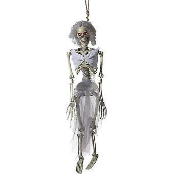 Smiffy's Animated Hanging Bride Skeleton Decoration, Natural, Battery Operated, With Light Up Eyes, Sounds & Movement