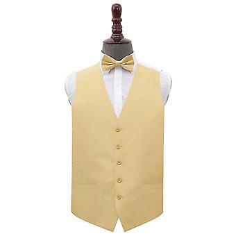 Gold Shantung Wedding Waistcoat & Bow Tie Set