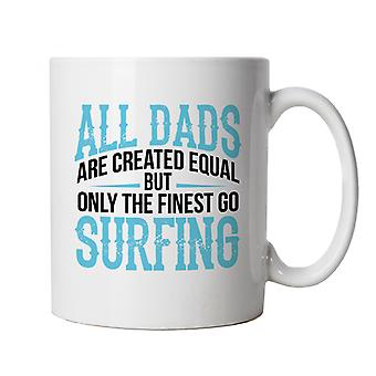 Finest Dads Go Surfing Water Sport Mug | Swimming Surfing Windsurfing Scuba Snorkel Diving | Sand Sea Sun Ocean Tan Sunbathing Lighthouse Wave | Fathers Day Cup Gift