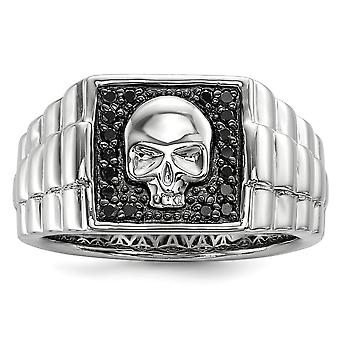925 Sterling Silver Polished Prong set Gift Boxed Rhodium-plated Black Diamond Square Skull Mens Ring - Ring Size: 9 to