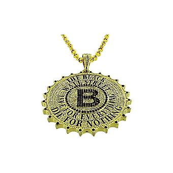 Pendant with chain Cz gold gleaming Wall Street