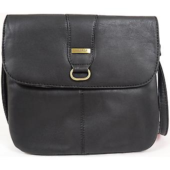 Ladies / Womens Faux Leather Practical Cross Body / Shoulder Bag  - Black
