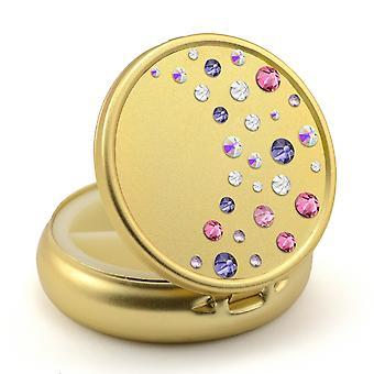 Pill-Box in Gold Farbe mit Swarovski-Kristallen Wasserfall Design