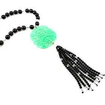 Kenneth Jay Lane Oriental Jade Resin & Black Beaded Necklace