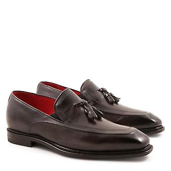 Handmade men's tassel loafers in grey leather