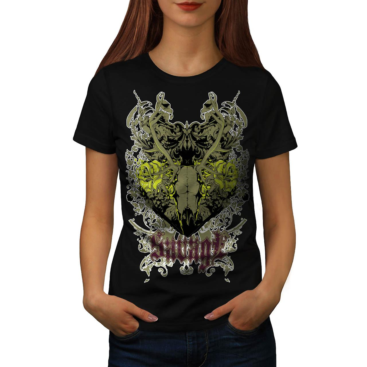 Savage Animal Skull Goat Head Women Black T-shirt | Wellcoda