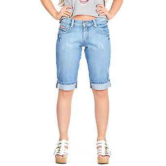 Lange verblasst Distressed Denimshorts