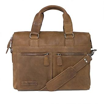Plover leather Business/laptop bag toploader cognac