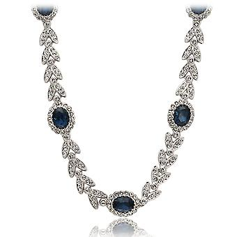 18K White Gold Plated Sapphire Blue Necklace
