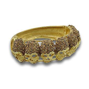 Sparkling Rhinestone Skulls Gold Tone Hinged Bangle Bracelet
