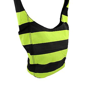 Neon and Black Striped Canvas Sling Tote Bag