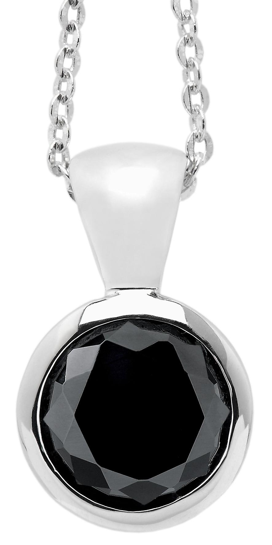 Burgmeister chain and pendant JBM1008-321, 925 sterling silver rhodanized, black zirconia