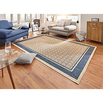 Design carpet flat weave classy with trim braided look blue