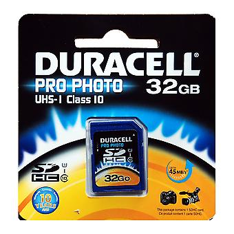 Duracell 32GB Pro-Photo UHS-I SDHC Class 10 Memory Card - Up to 45MB/s