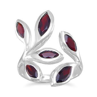 Abrigo alrededor de anillo de plata esterlina con Marquesa forma granates - tamaño del anillo: 5 a 11