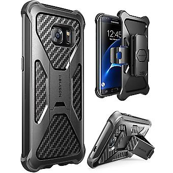 Galaxy S7 Edge Case, i-Blason Prime, Samsung Galaxy S7 Edge 2016, Locking Belt Swivel Clip-Black