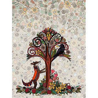 Лиса и ворона печать плаката, Шэрон Тёрнер