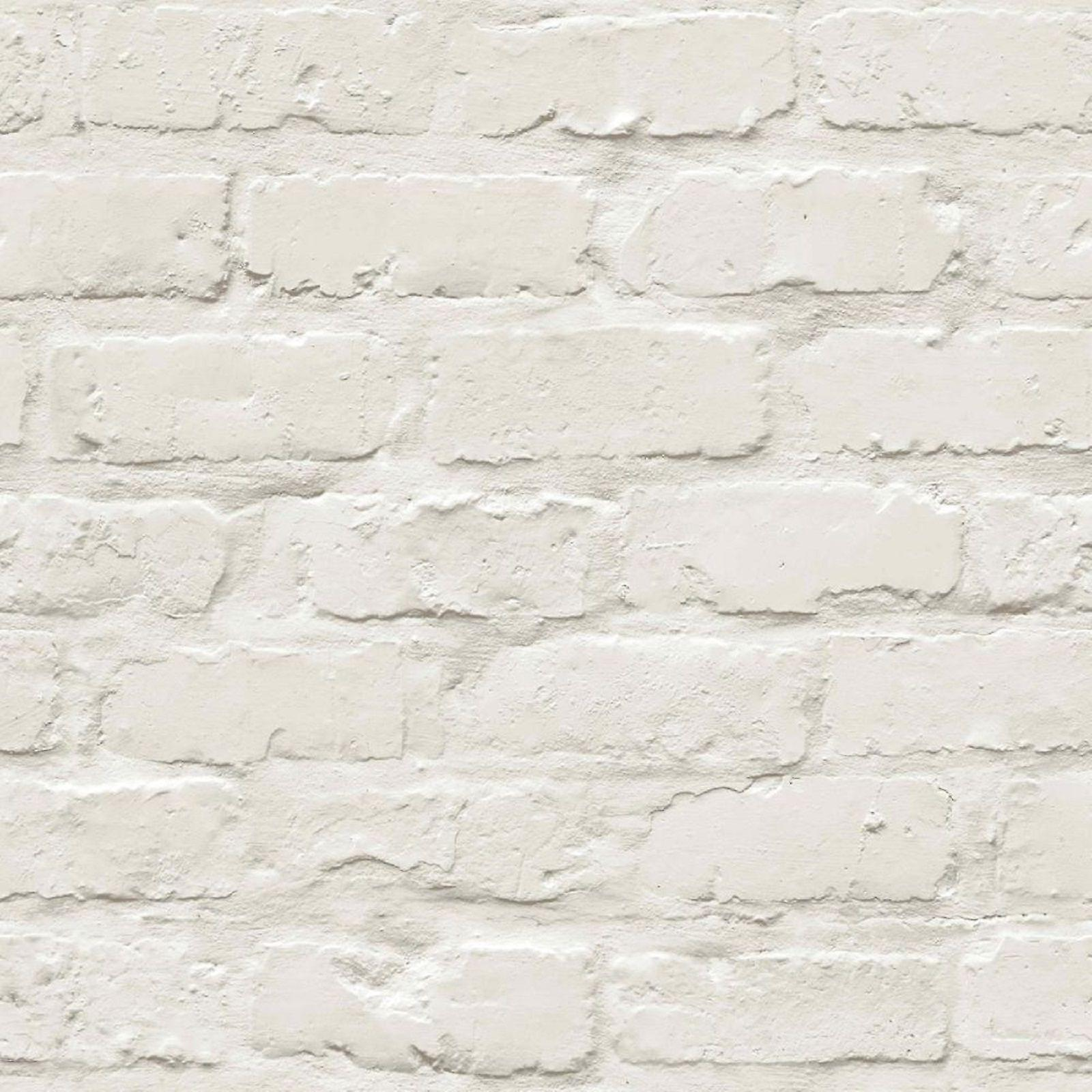 Brick Effect Wallpaper Slate Stone Wall Faux Painted White