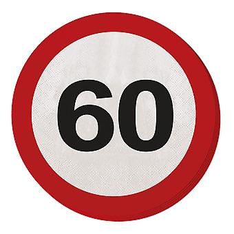 Napkin traffic sign number 60 20 St. sign birthday party