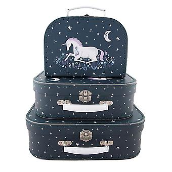 Sass & Belle Set of 3 Starlight Unicorn Suitcases Storage Boxes