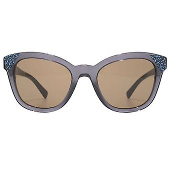 Valentino Glitter Detail Cateye Sunglasses In Transparent Grey