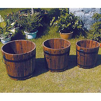 Vat - Solid Wood Tuin bloem Planter / Pot - Set van 3 - Burntwood