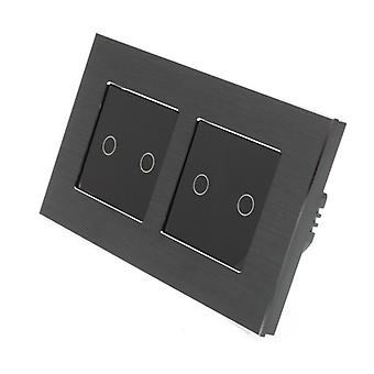 I LumoS Black Brushed Aluminium Double Frame 4 Gang 1 Way Remote & Dimmer Touch LED Light Switch Black Insert
