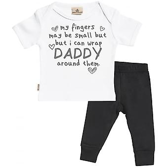 Spoilt Rotten Daddy Wrapped Baby T-Shirt & Baby Jersey Trousers Outfit Set