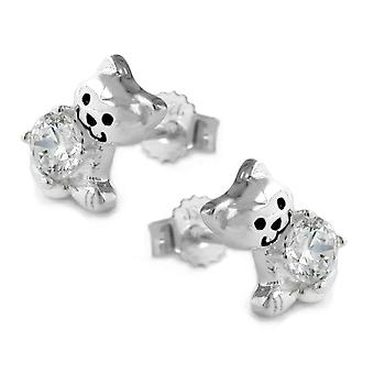 Earring studs girl cat cubic zirconia children jewelry 925 sterling silver