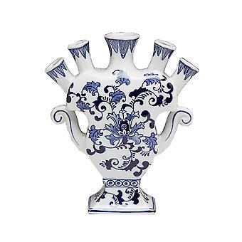 AA importation 59878 Five Finger Vase bleu et blanc