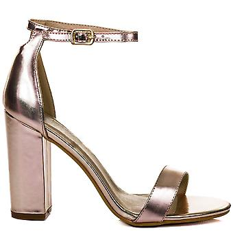 SASS Open Peep Toe Block Heel Sandals Shoes - Rose Gold Leather Style