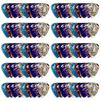 Tiger Guitar Picks - Pack of 100 Celluloid Plectrums - Variety of