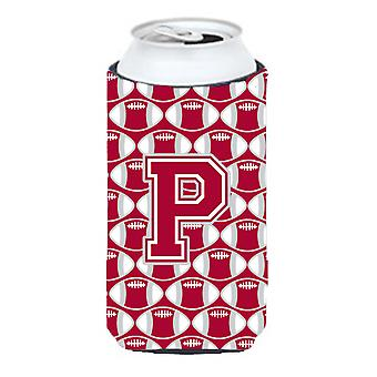 Буква P футбола малиновый, серый и белый высокий Boy напитки изолятор Hugger