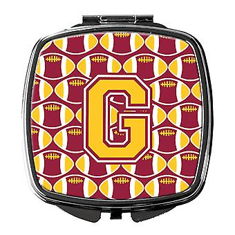 Letter G Football Maroon and Gold Compact Mirror