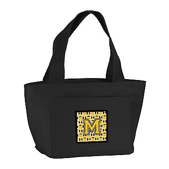 Letter M Football Black, Old Gold and White Lunch Bag