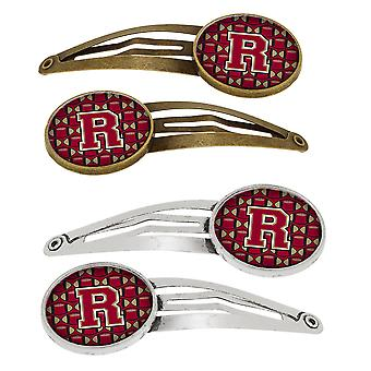 Letter R Football Garnet and Gold Set of 4 Barrettes Hair Clips