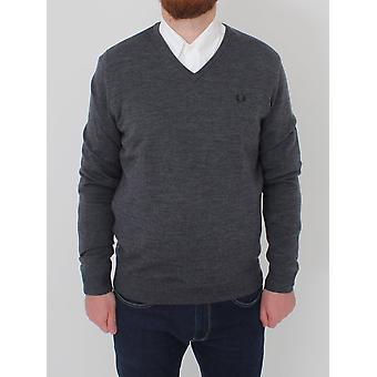 Fred Perry Classic Tipped V-Neck Knit - Graphite