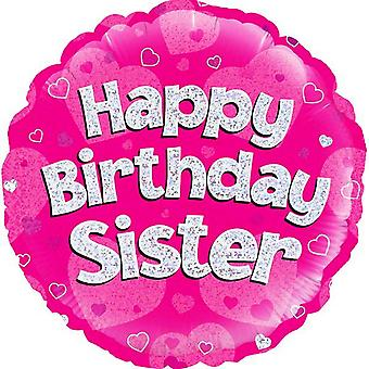 Oaktree 18 Inch Circle Happy Birthday Sister Foil Balloon