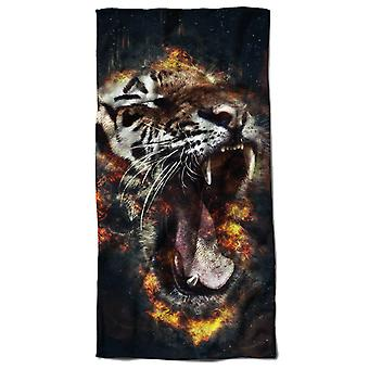 Tiger Flowers Beach Towel 70cm x 150cm | Wellcoda