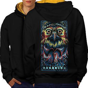 Owl Hippie Indian Animal Men Black (Gold Hood) Contrast Hoodie Back | Wellcoda