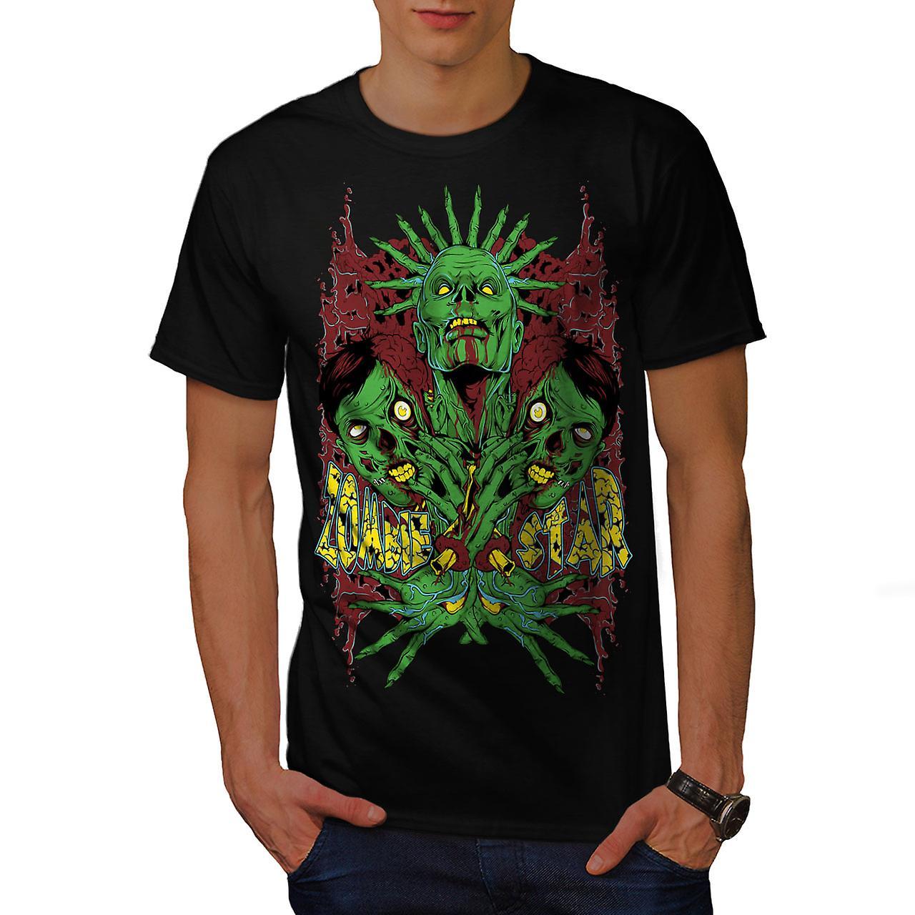 Star Monster Green Men BlackT-shirt | Wellcoda