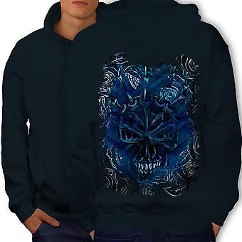 Blue Rose Skull Men NavyHoodie Back | Wellcoda