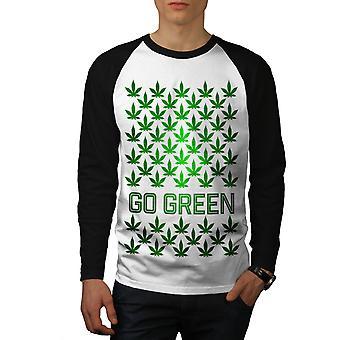 Cannabis vert Pot hommes blanc (manches noirs) Baseball LS T-shirt   Wellcoda