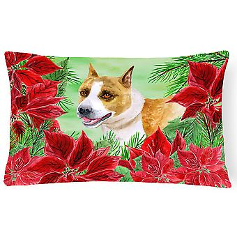 American Staffordshire Poinsettas Canvas Fabric Decorative Pillow