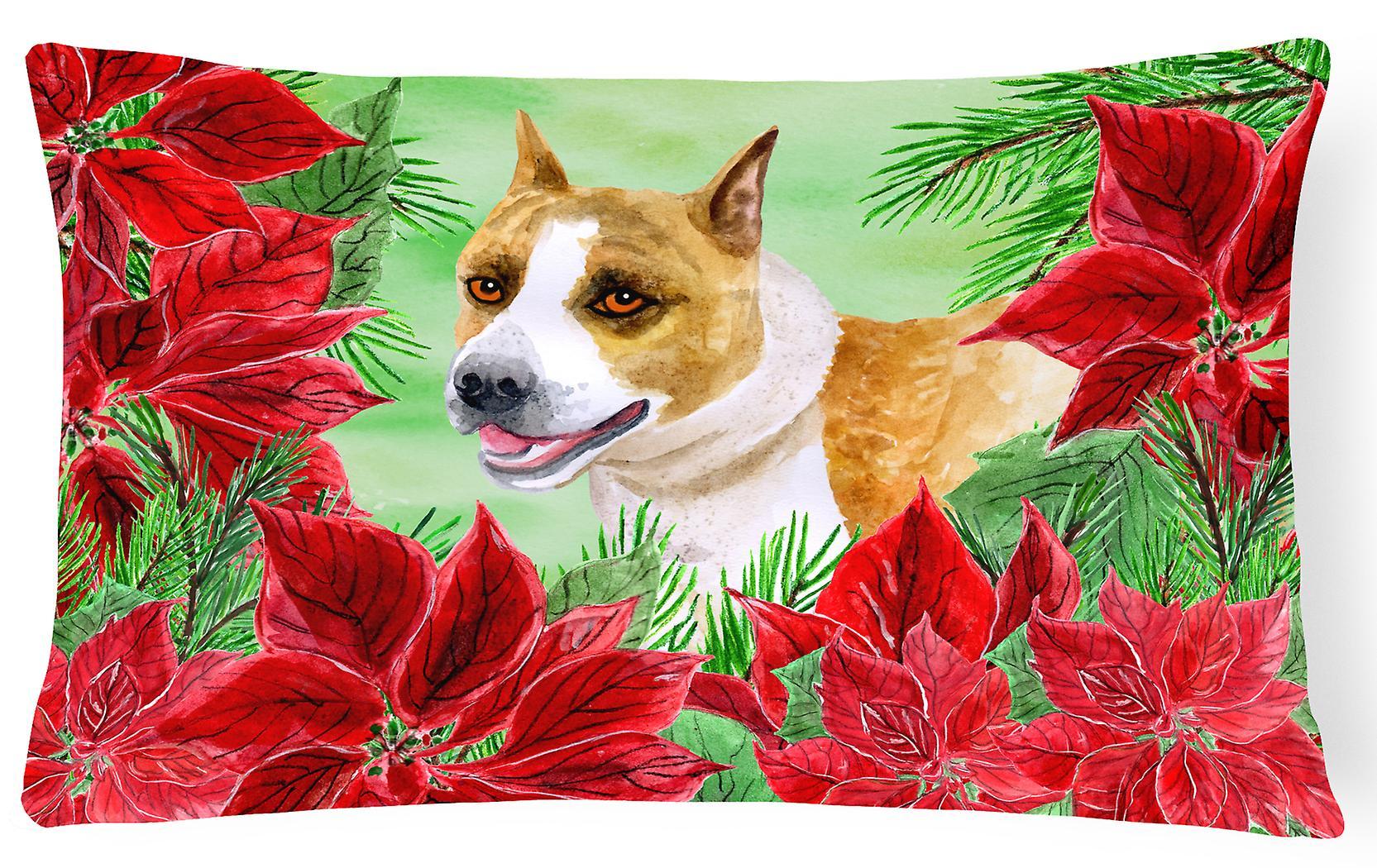 American Staffordshire Poinsettas Pillow Canvas Fabric Decorative USGzqVpM