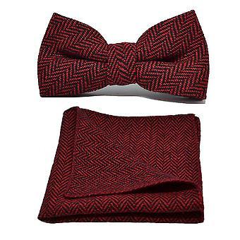 Tranbär röd & svart Fiskbens fluga & Pocket Square Set