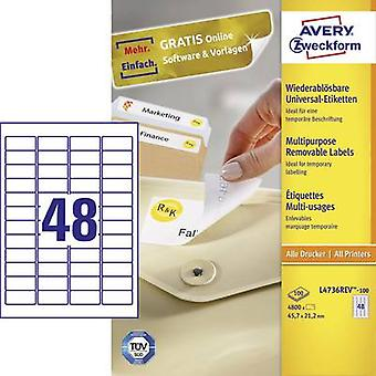 Avery-Zweckform L4736REV-100 Labels (A4) 45.7 x 21.2 mm Paper