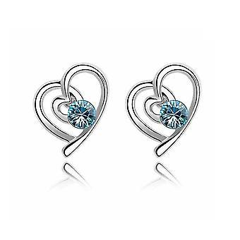 Wome's Blue Silver Love Heart Jewellery Earrings BGCW54