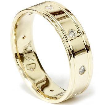 Mens Diamond Wedding Ring 14K Yellow Gold