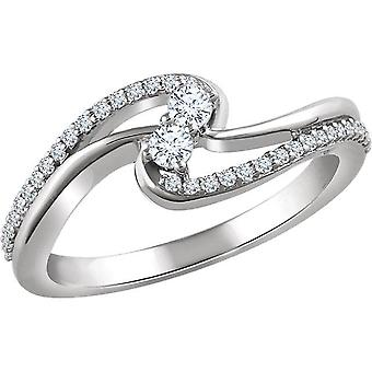 1/4CT Two Stone Forever Us Diamond Ring 10K White Gold